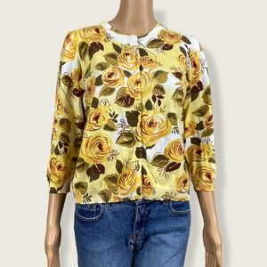 CAbi #465 Yellow Rose Crop Snap Cardigan Sweater